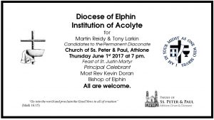 Institution of Acolyte for Candidates to the Permanent Diaconate @ Ss. Peter & Paul's Church,